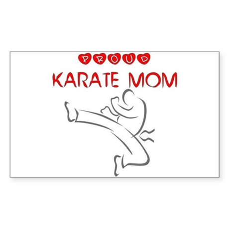Proud Karate Mom Rectangle Sticker