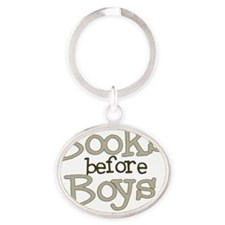 Books Before Boys Oval Keychain