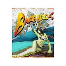 barbados carribbean island beach vie Throw Blanket