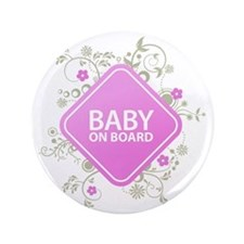 "Baby on Board - Girl 3.5"" Button"