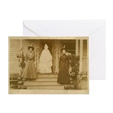 Vintage Halloween Photograph Witches Greeting Card