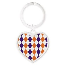Clemson Argyle Sock Pattern South C Heart Keychain
