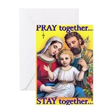 Family Prays - Yellow Background Greeting Card