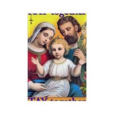 Family Prays - Yellow Background Rectangle Magnet