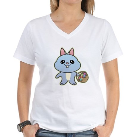 Blue Easter Bunny Women's V-Neck T-Shirt