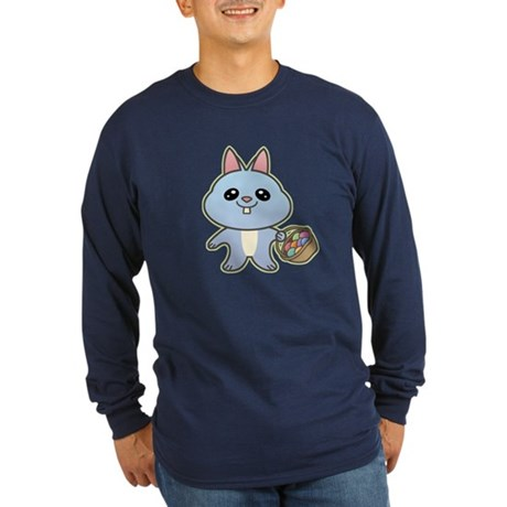Blue Easter Bunny Long Sleeve Dark T-Shirt