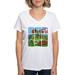 Strawberry Puzzle Women's V-Neck T-Shirt