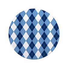 "Carolina Blue Argyle Sock Pattern Nort 3.5"" Button"