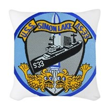 uss simon lake patch transpare Woven Throw Pillow