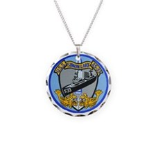 uss simon lake patch transpa Necklace