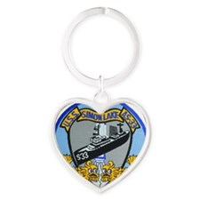 uss simon lake patch transparent Heart Keychain