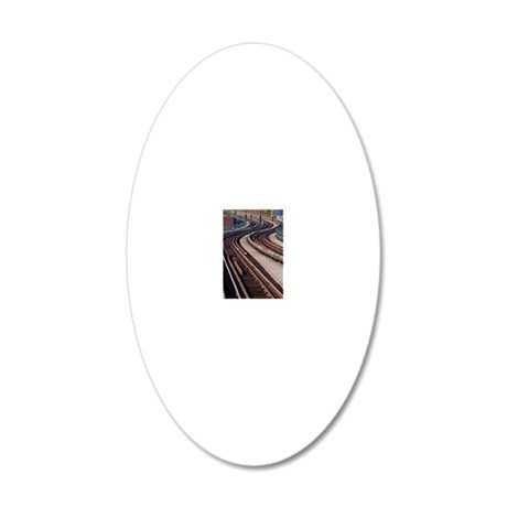 Snaking Train Track 20x12 Oval Wall Decal