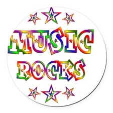 Music Rocks Round Car Magnet