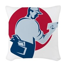 mailman postman deliver mail e Woven Throw Pillow