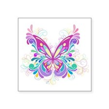 "Decorative Butterfly Square Sticker 3"" x 3"""