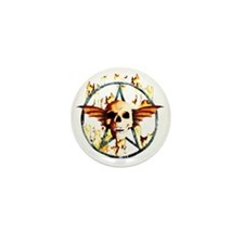 pentagram devil wingskull burning fire Mini Button