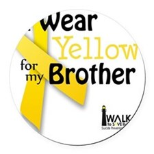 I Wear Yellow for my Brother Round Car Magnet