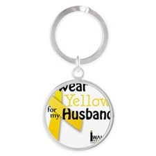 i_wear_yellow_for_my_husband_update Round Keychain
