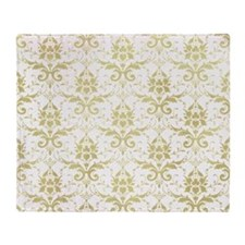 Vintage damask pattern in antiqued g Throw Blanket