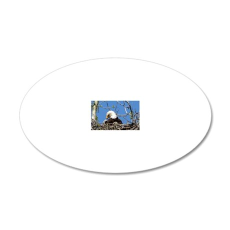 Mama Eagle Looking at Eaglet 20x12 Oval Wall Decal