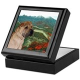 Shar Pei on Wall in the Fall Keepsake Box