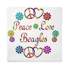 Peace Love Beagles Queen Duvet