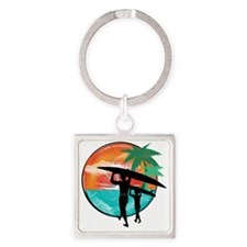 Retro Summer Time Fun Square Keychain