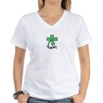 LUCKY 4 LEAF CLOVER Women's V-Neck T-Shirt