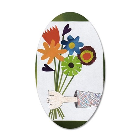Pretty Flower Delivery 35x21 Oval Wall Decal