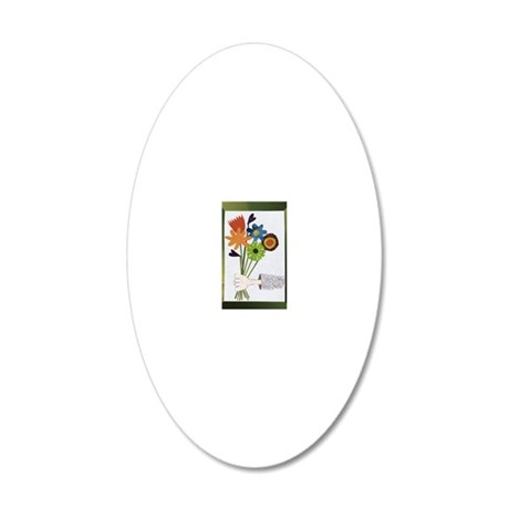 Pretty Flower Delivery 20x12 Oval Wall Decal