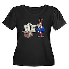 Democrat Women's Plus Size Dark Scoop Neck T-Shirt