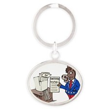 Democrats at Work - middle Oval Keychain