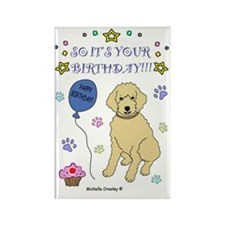 happy birthday from goldendoodle- Rectangle Magnet