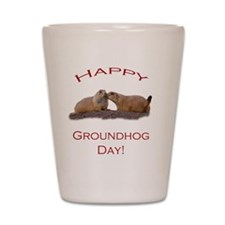 Groundhog Day Kiss Shot Glass