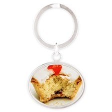 Tart with cherry Oval Keychain