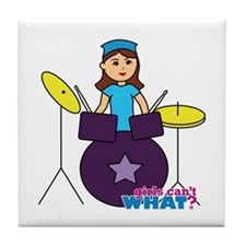 Drummer Girl Purple and Blue Tile Coaster