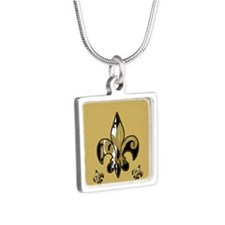 Black and Gold fleur de li Silver Square Necklace