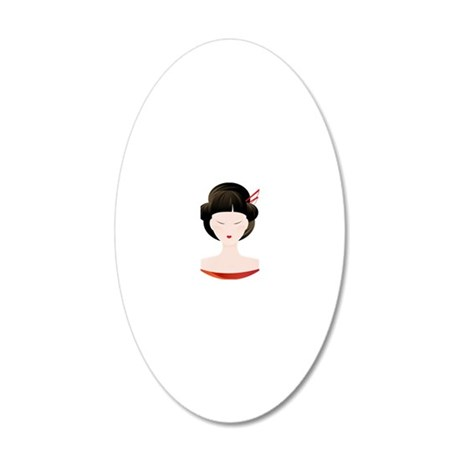 Geisha 20x12 Oval Wall Decal