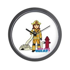 Firefighter Woman Wall Clock