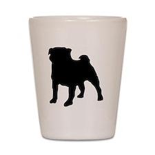 silhouette pug Shot Glass
