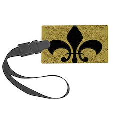 Black Fleur de lis and gold fleu Luggage Tag