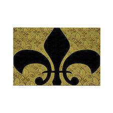 Black Fleur de lis and gold fleur Rectangle Magnet