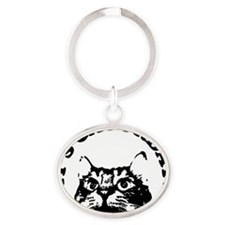 Caturday Oval Keychain