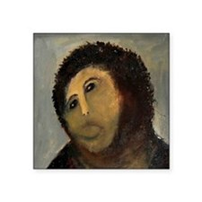"Jesus Fresco Head Square Sticker 3"" x 3"""