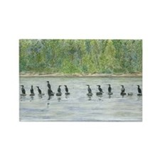 skin-Cormorants-BevKadowArt Rectangle Magnet