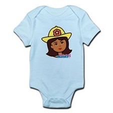 Firefighter Woman Head Dark Infant Bodysuit