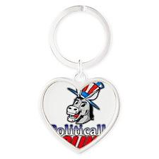 Politically Inclined logo Heart Keychain