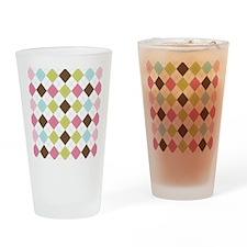 Pastel Argyle Pattern Drinking Glass