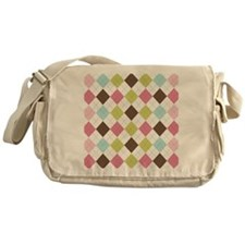 Pastel Argyle Pattern Messenger Bag
