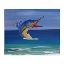 Marlin Deep Sea Fishing Throw Blanket